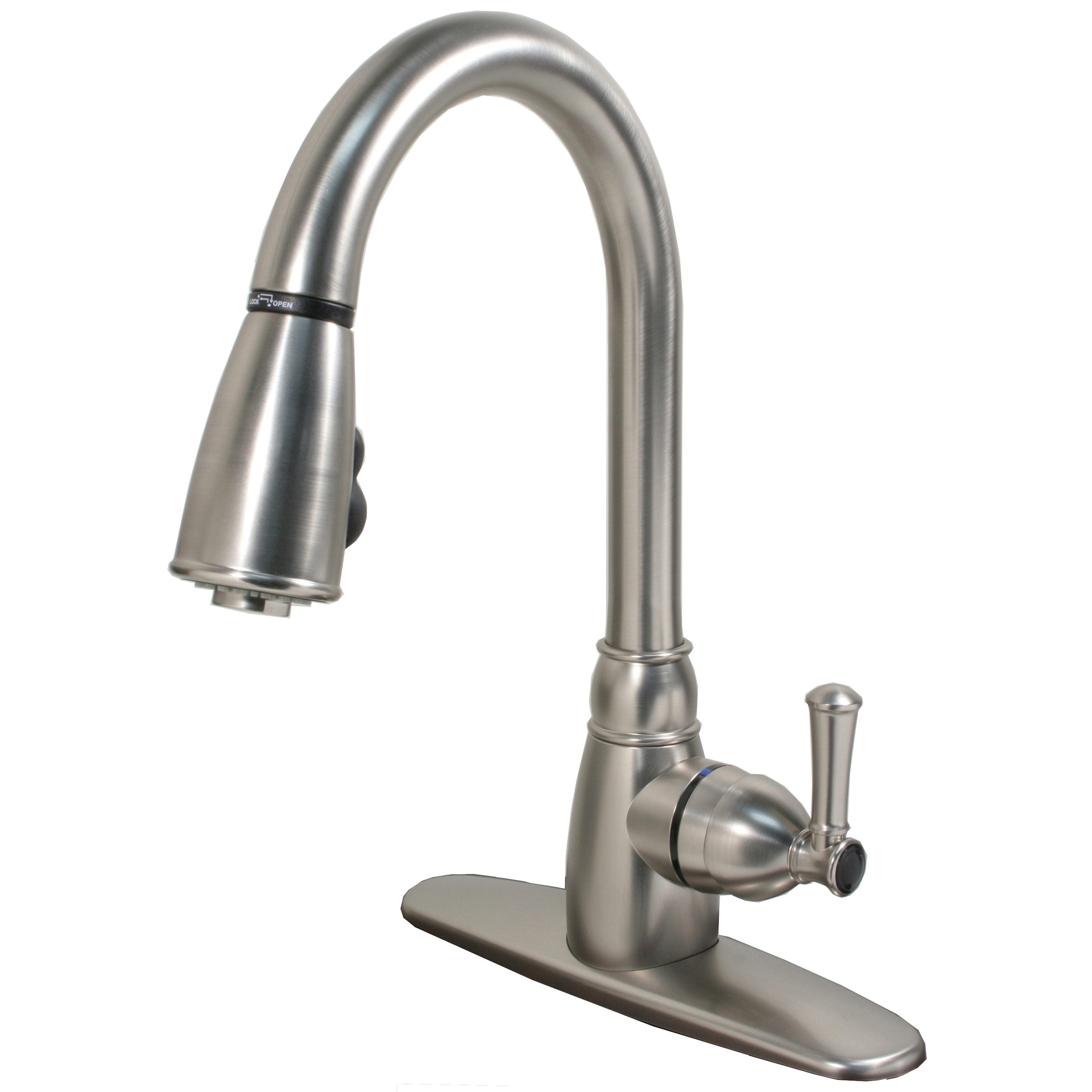 Single Handle Non Metallic Kitchen Faucet With Pull Down