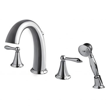 faucet by mount ashbee deck lever tub faucets shower handles product bathtub filler dxv hand with