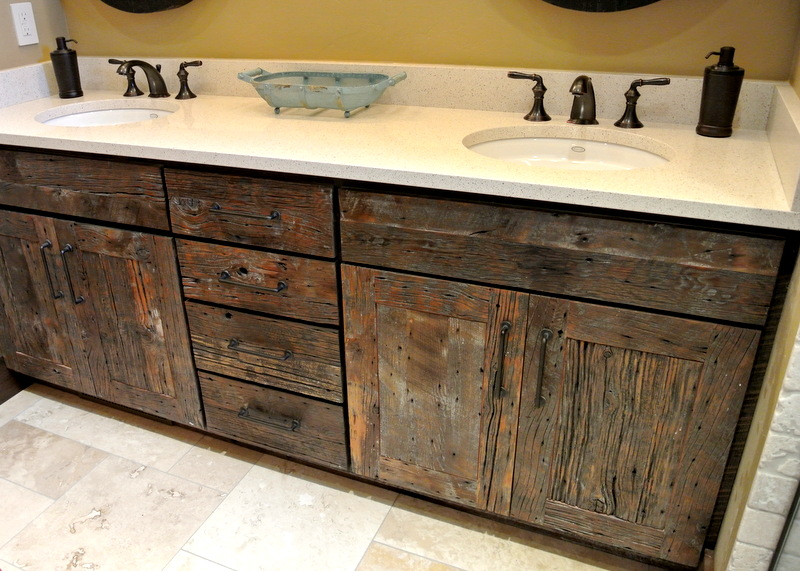 Reclaimed Wood Cabinets ~ Ultra faucets