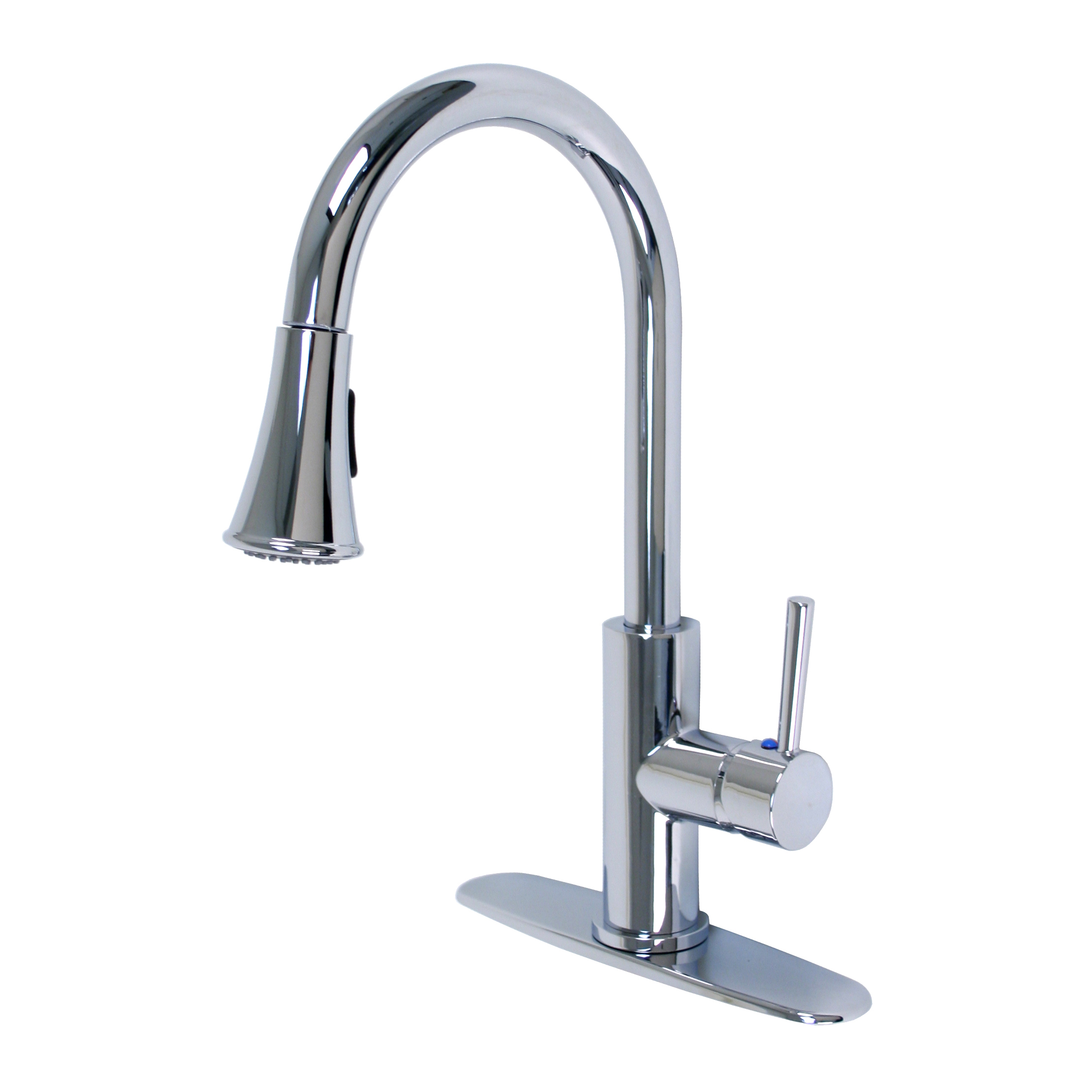 nickel sink single finish brushed faucet pull handle out kitchen